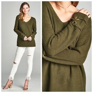 New olive green knit sweater